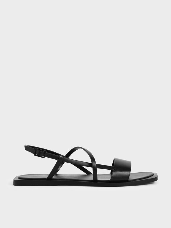 Asymmetric Strap Slingback Sandals, Black, hi-res