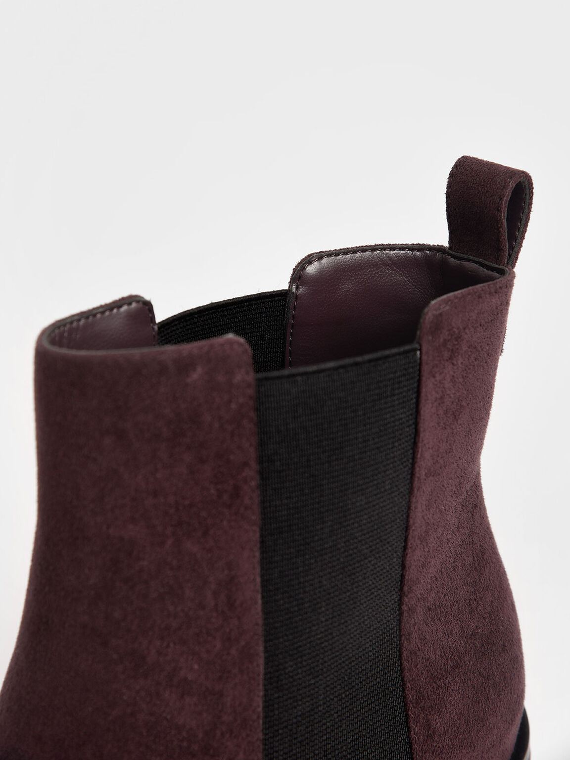 Textured Block Heel Chelsea Boots, Purple, hi-res