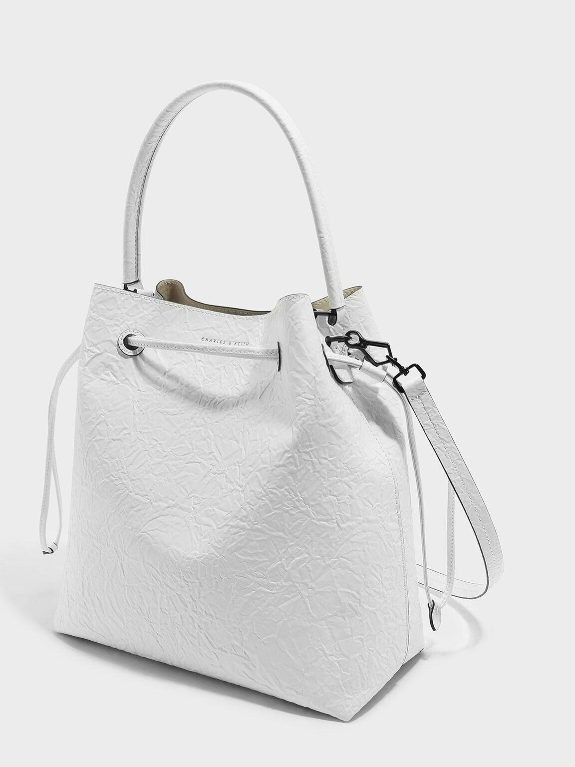 Basic Drawstring Shoulder Bag, White, hi-res