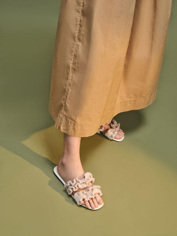 Ruffle Knit Slide Sandals, Chalk, hi-res