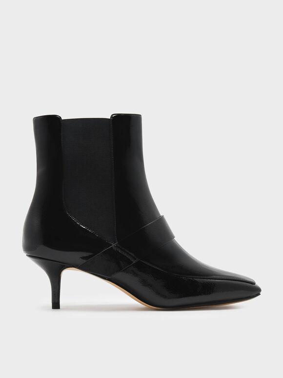 Square Toe Kitten Heel Boots, Black Textured, hi-res