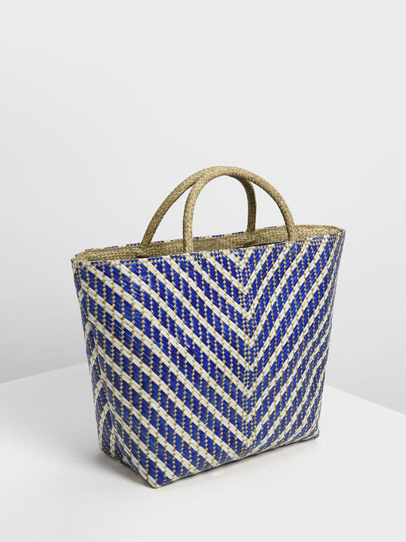 The Purpose Collection - Handwoven Banig Tote Bag, Dark Blue, hi-res