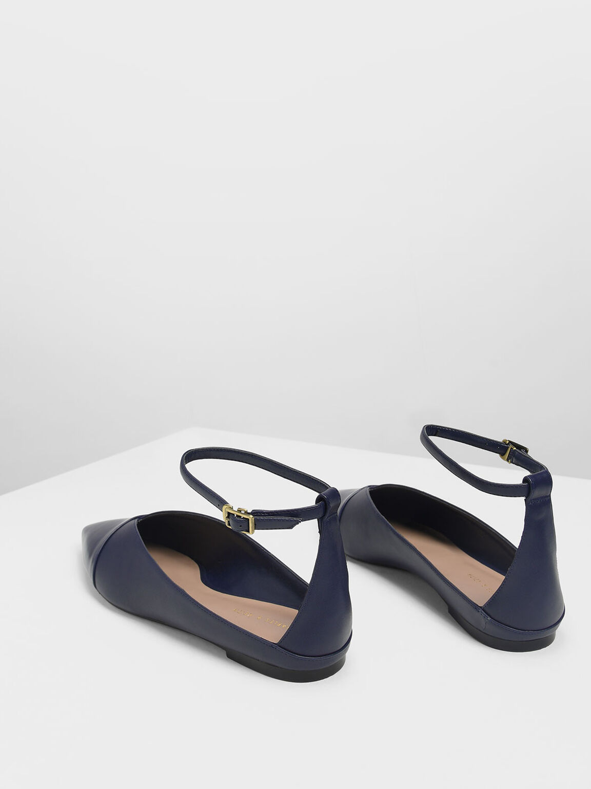 Pointed Toe Ankle Strap Flats, Dark Blue, hi-res
