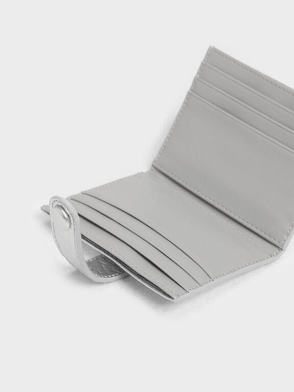 Wrinkled Effect Snap Button Card Holder, Silver, hi-res