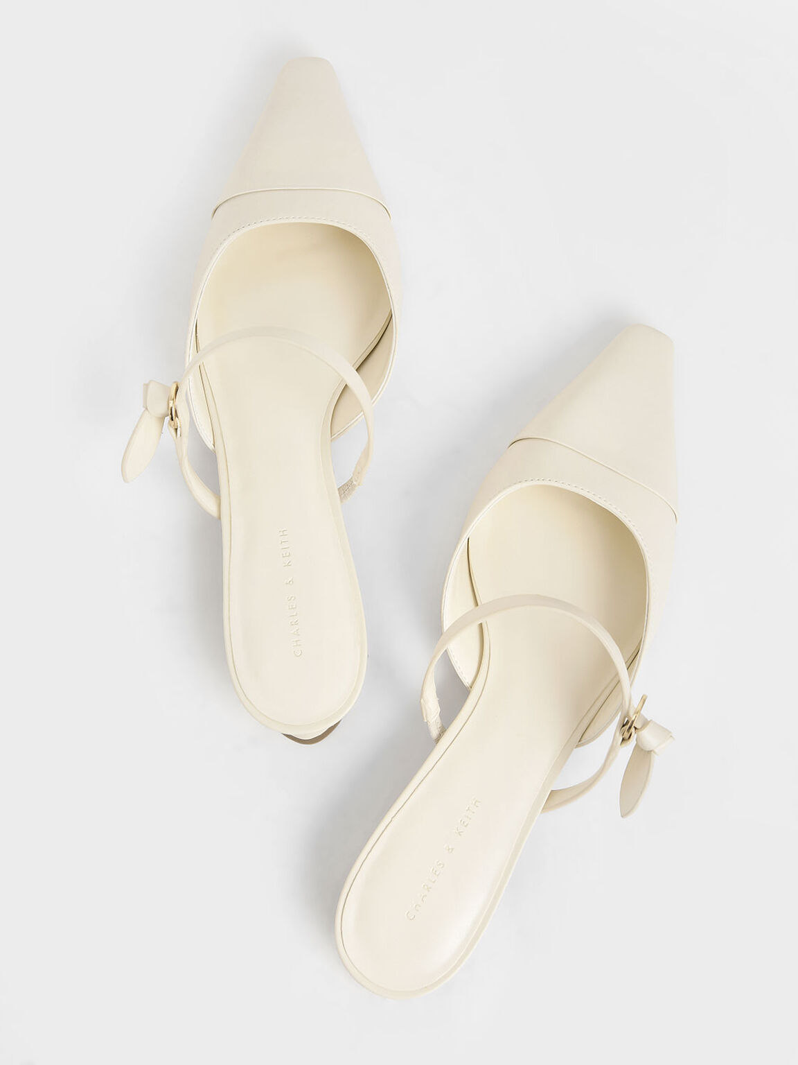 Mary Jane Strap Flat Mules, Cream, hi-res