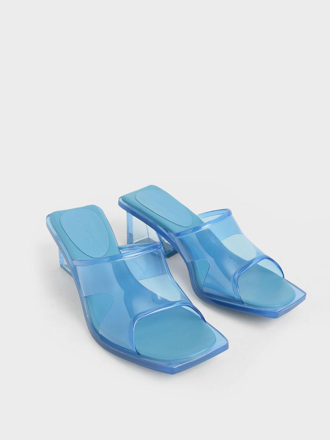 果凍粗跟拖鞋, 藍綠色, hi-res