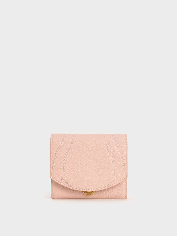 Push-Lock Mini Wallet, Pink, hi-res