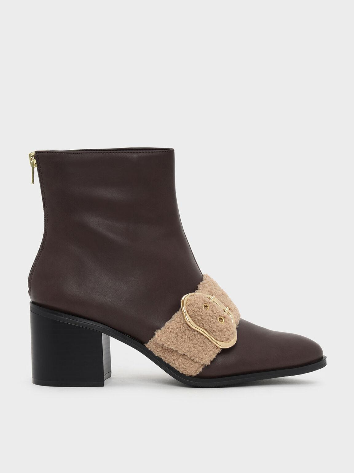 Furry Strap Detail Calf Boots, Dark Brown, hi-res