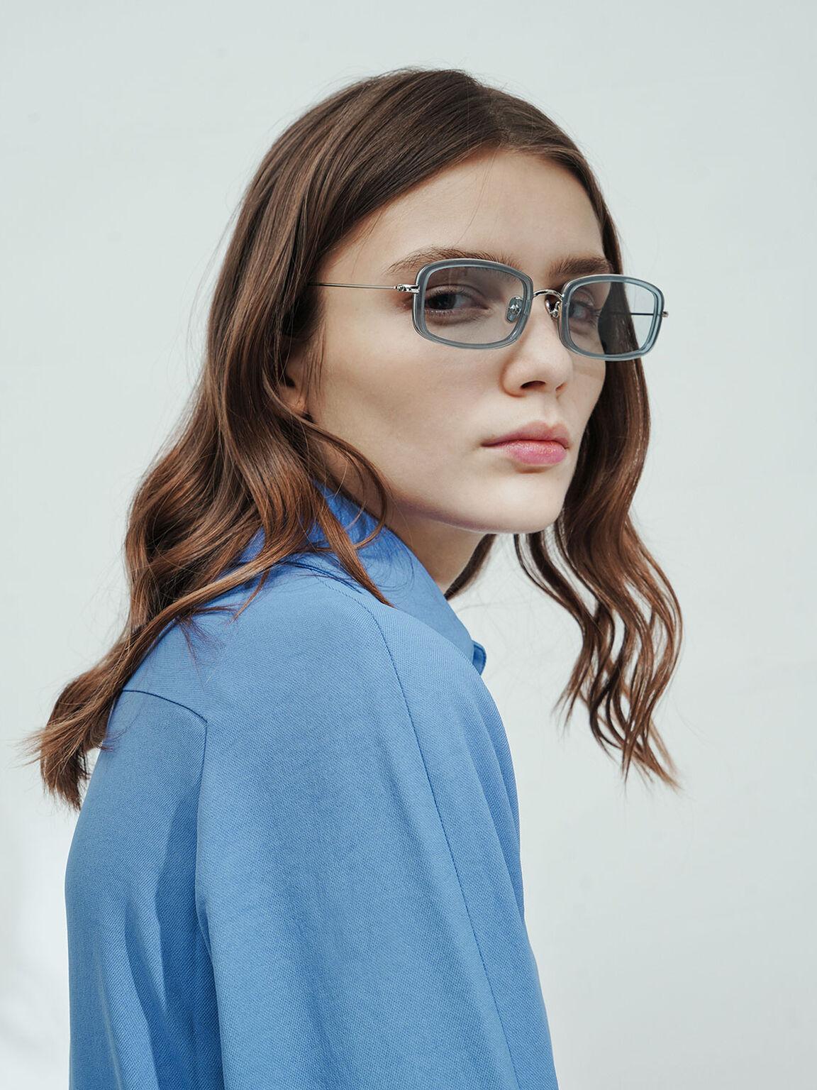 Rectangle Frame Acetate Sunglasses, Blue, hi-res