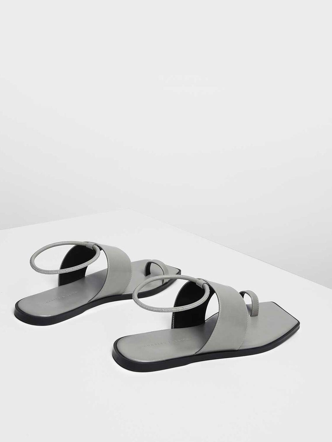 Square Toe Thong Sandals, Grey, hi-res