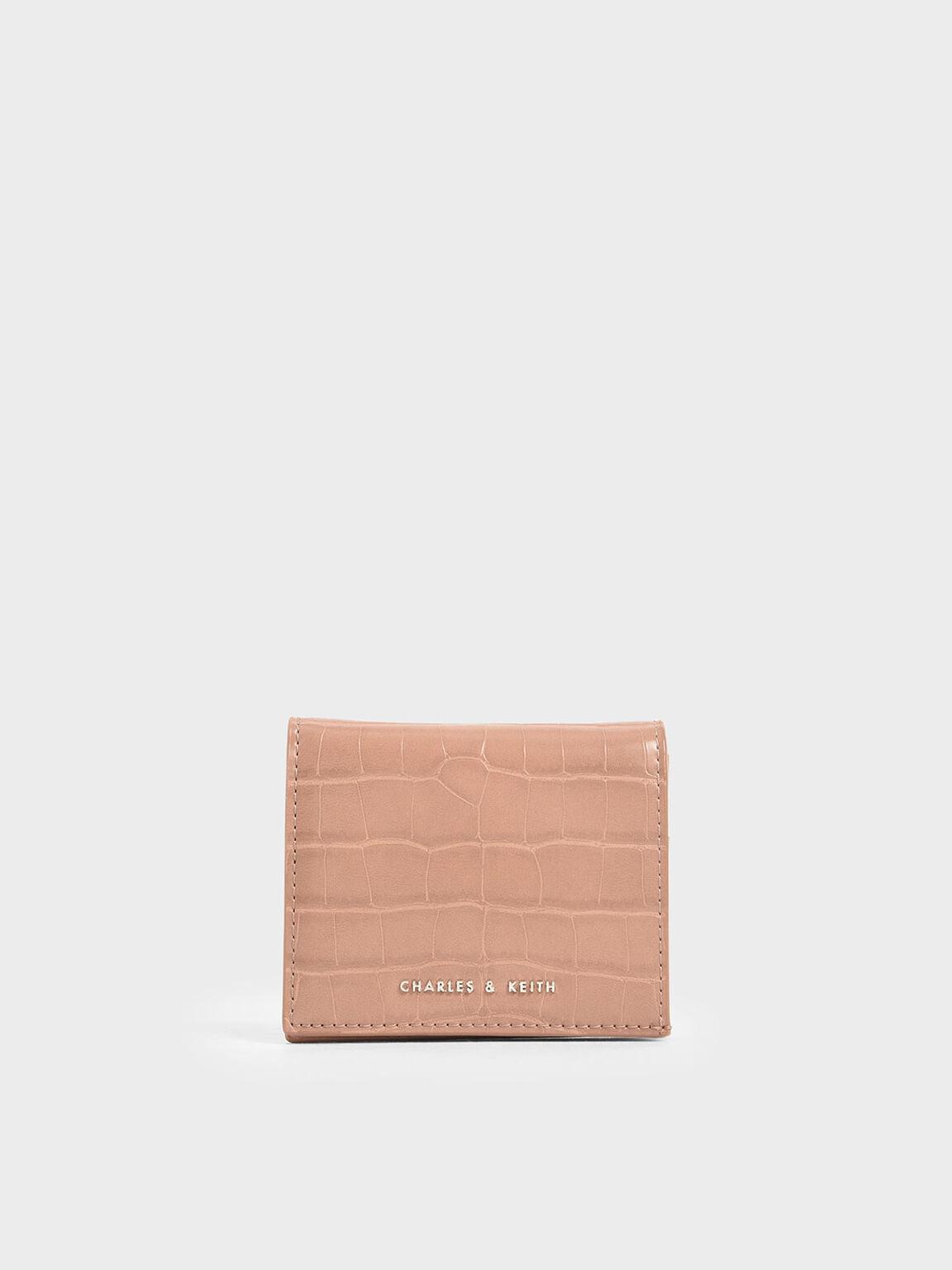 Croc-Effect Small Wallet, Blush, hi-res
