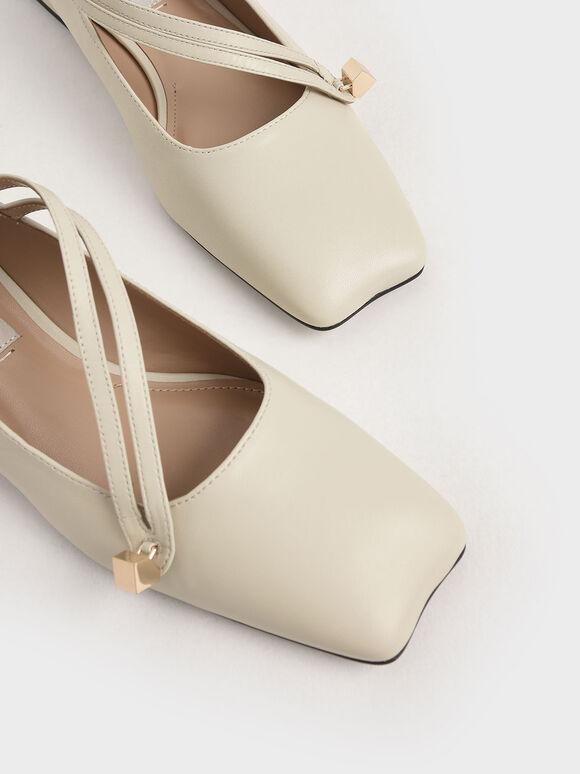 Leather Asymmetric Strap Ballerina Flats, Chalk, hi-res