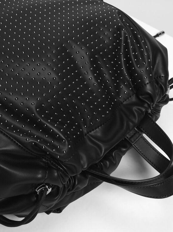 Micro Stud Drawstring Backpack, Black, hi-res
