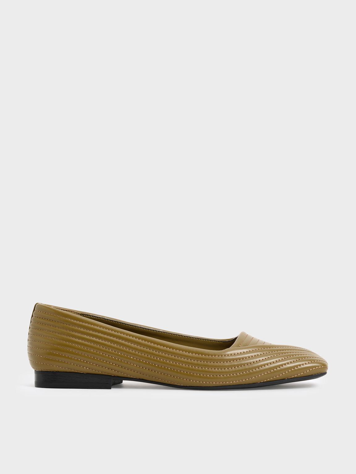 Stitch-Trim Square Toe Ballerina Flats, Olive, hi-res
