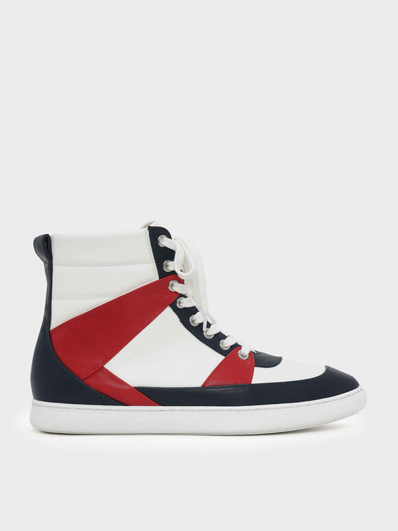 Pointed High Cut Sneakers, Multi, hi-res
