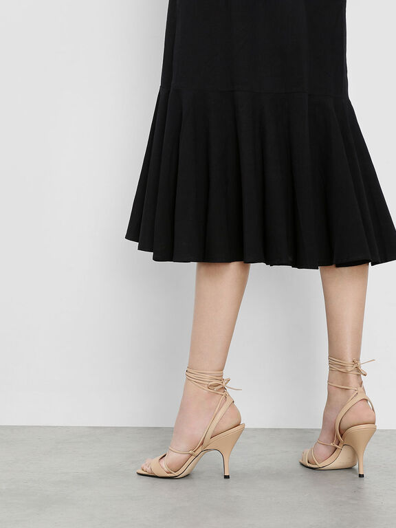 Square Toe Lace-Up Sandals, Nude