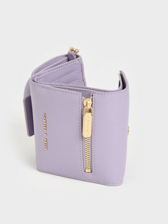 Chain Handle Short Wallet, Lilac, hi-res