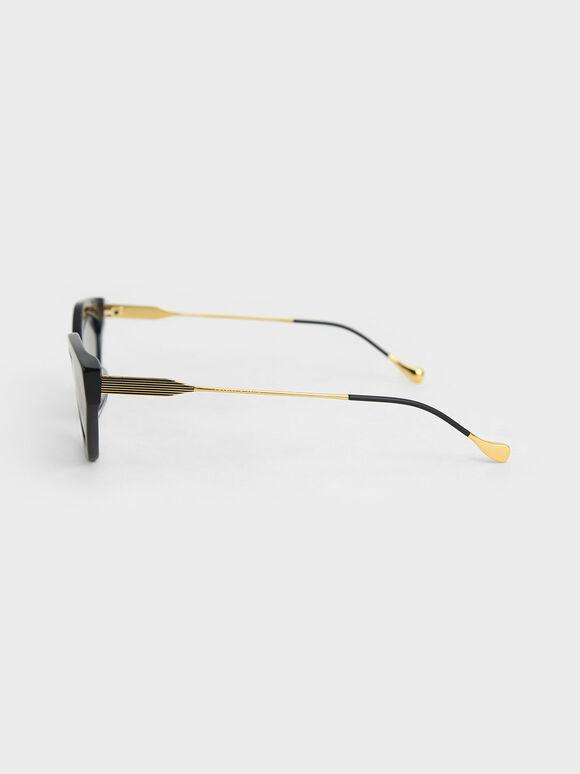 Cat-Eye Acetate Sunglasses, Black, hi-res