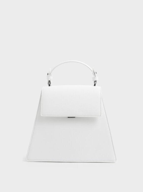 Angular Top Handle Bag, White, hi-res
