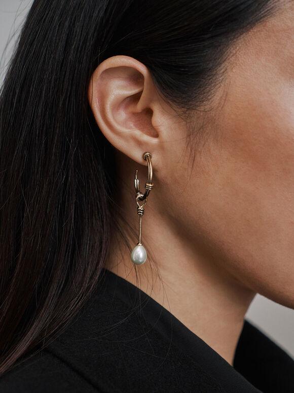 Circular Pearl Drop Earrings, Gold, hi-res