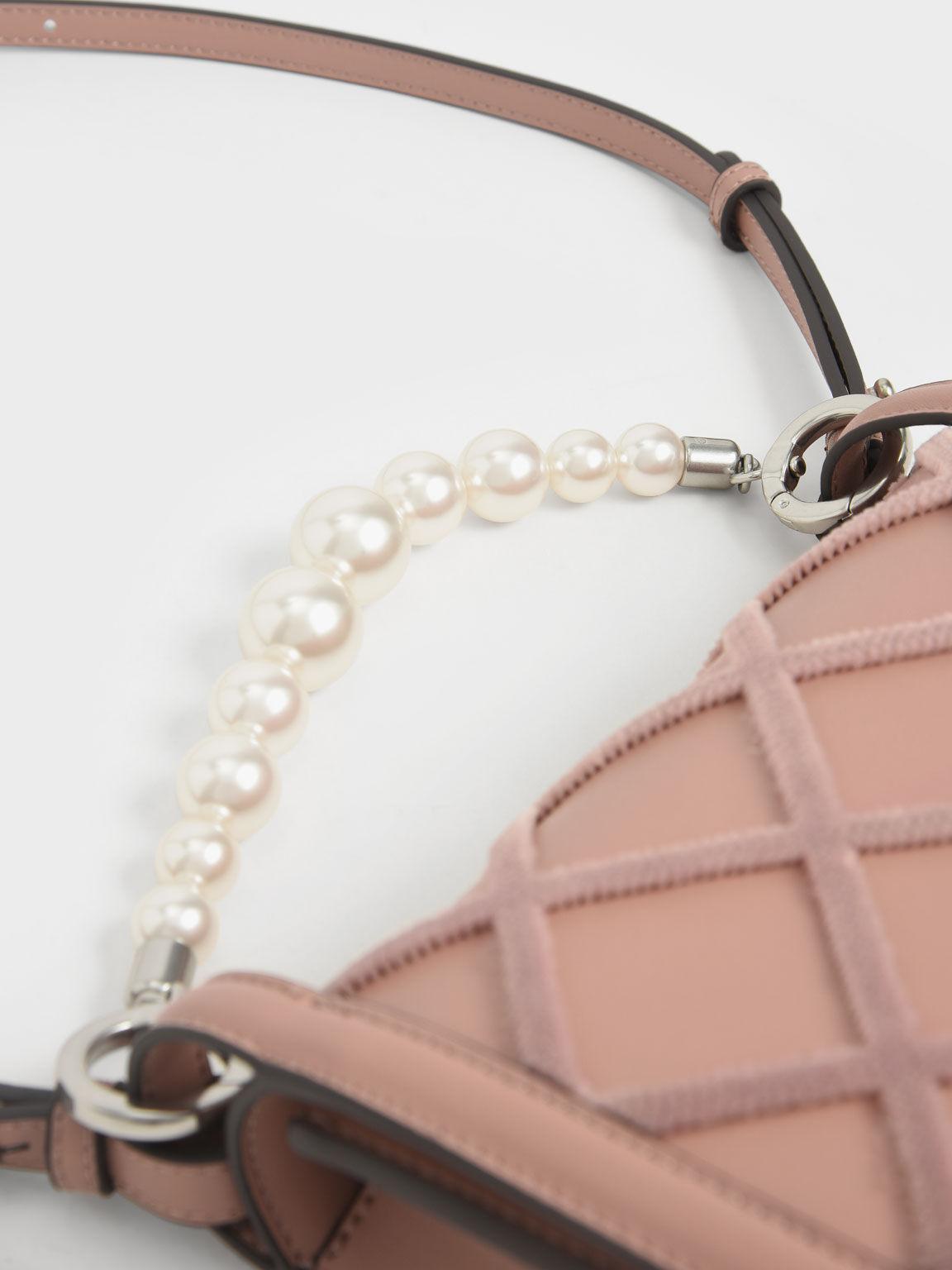 串珠鍊菱格包, 嫩粉色, hi-res