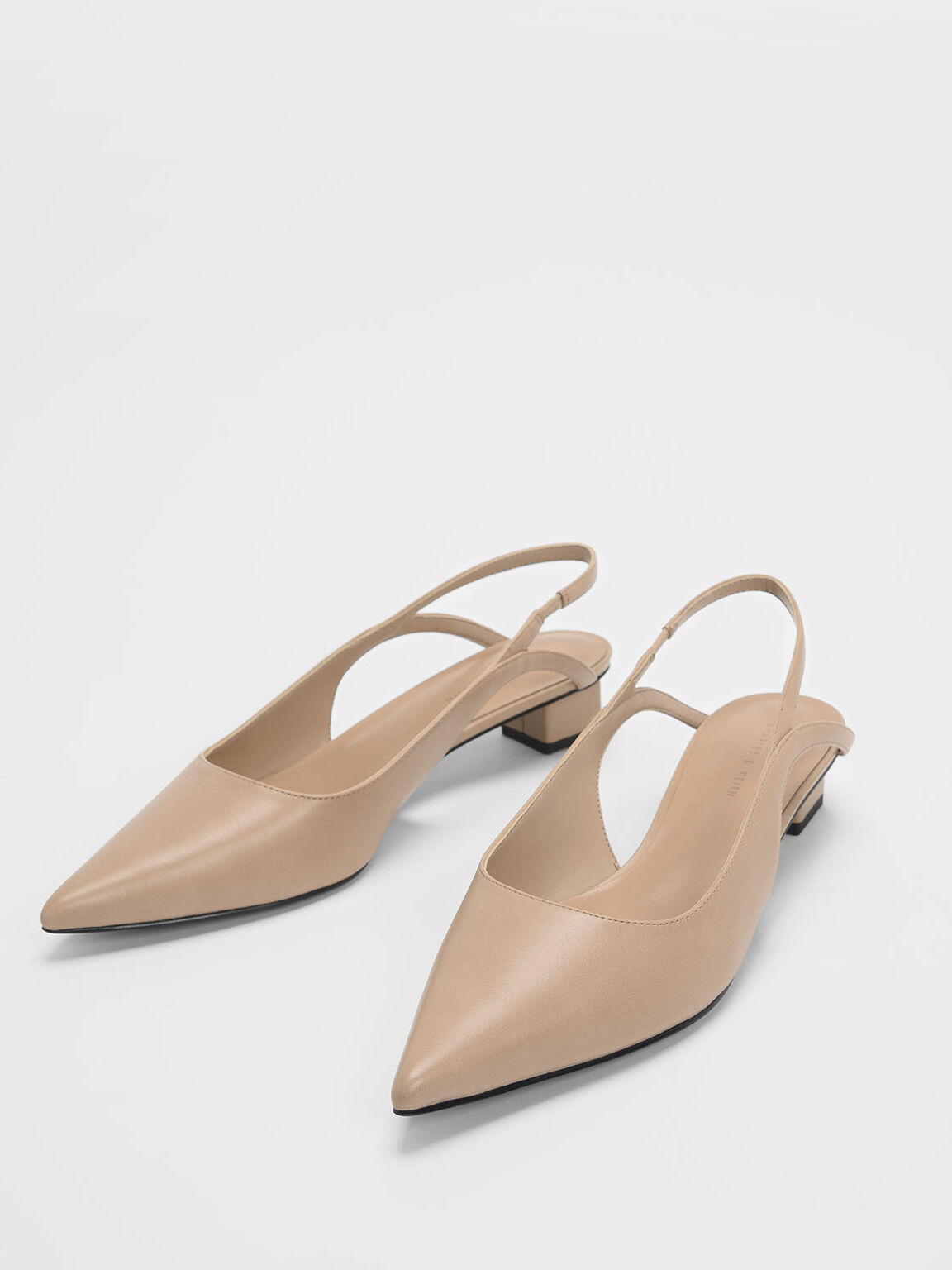 Low Block Heel Slingback Pumps, Nude, hi-res