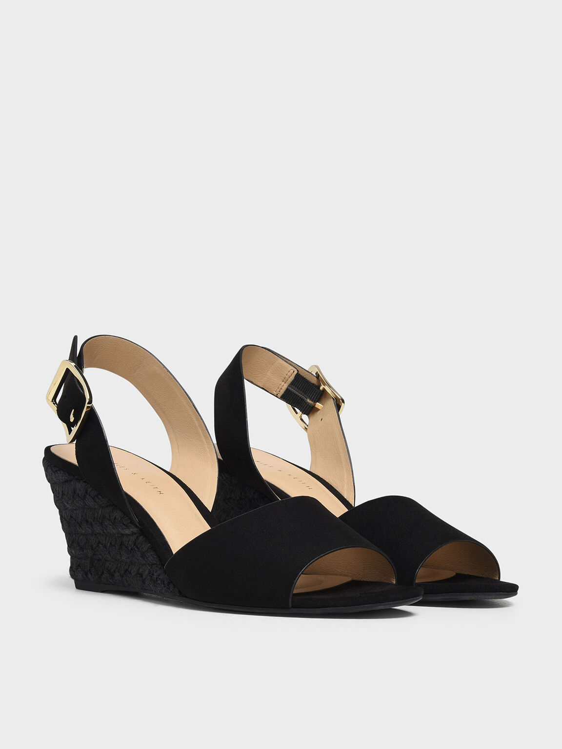 Chunky Buckle Espadrille Wedges, Black, hi-res
