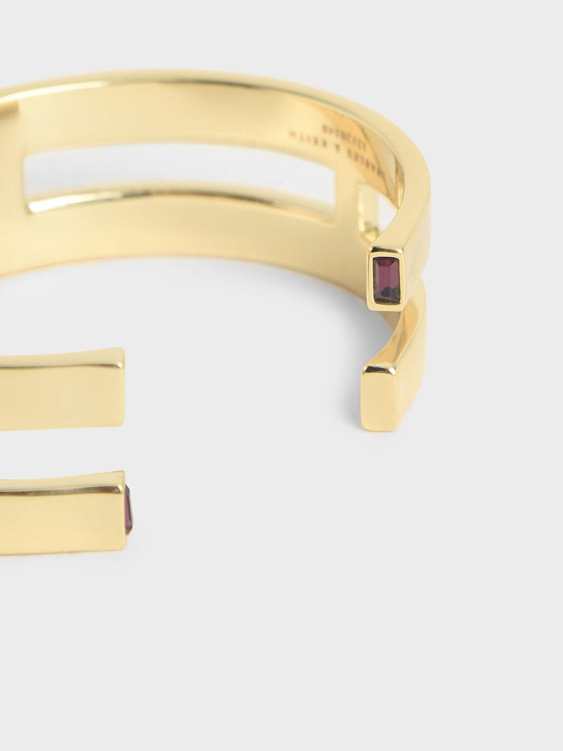 Swarovski® Crystal Double Cuff Bracelet, Gold, hi-res