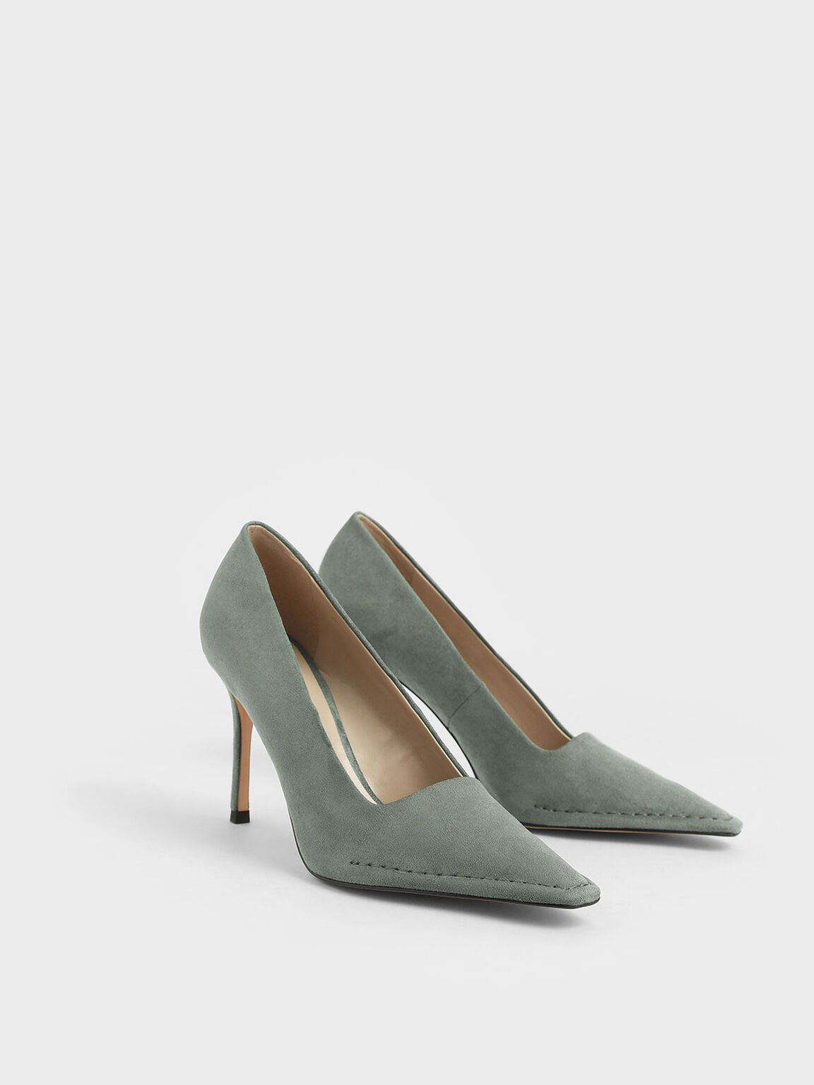 Stitch Trim Textured Stiletto Pumps, Sage Green, hi-res