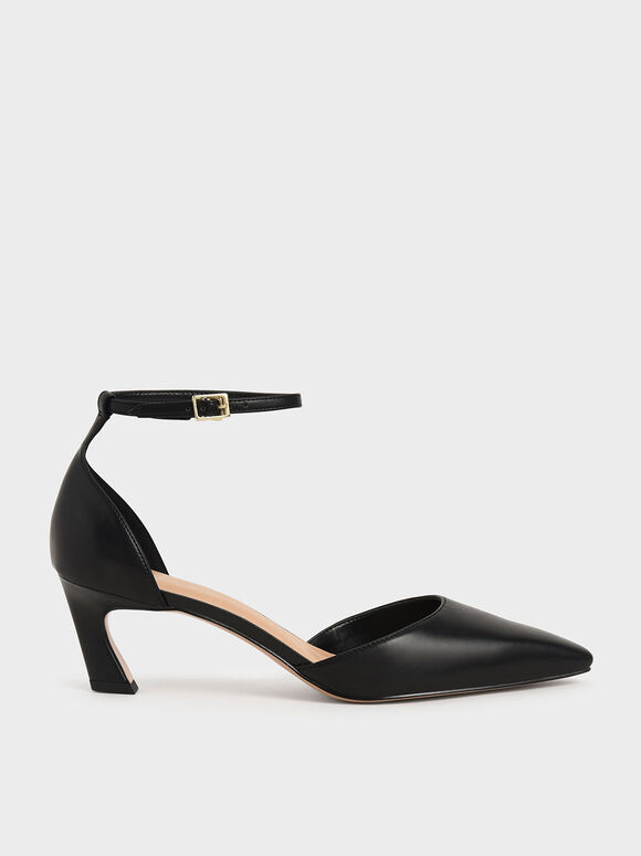 Slant Heel Ankle Strap Pumps, Black, hi-res