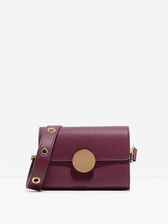 Grommet Sling Bag, Burgundy, hi-res