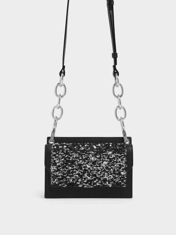 Eyelet Embossed Sequin Push Lock Clutch, Black Textured, hi-res