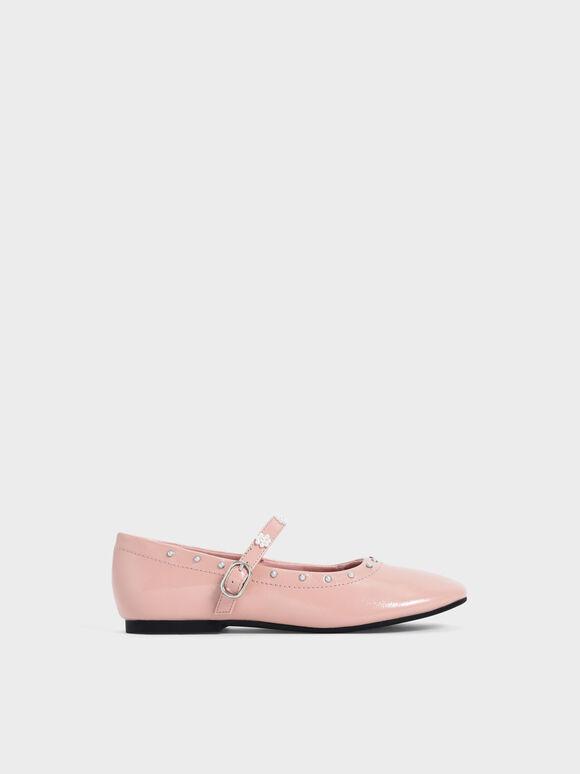 兒童珍珠花朵瑪莉珍鞋, 粉紅色, hi-res