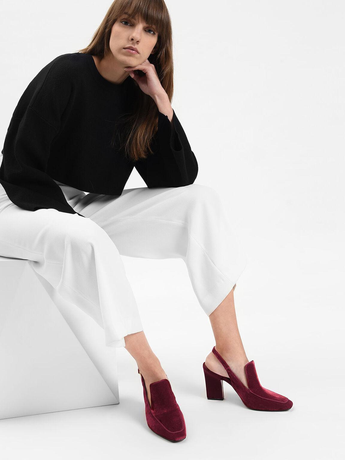 Tapered Heel Slingback Heels, Red, hi-res