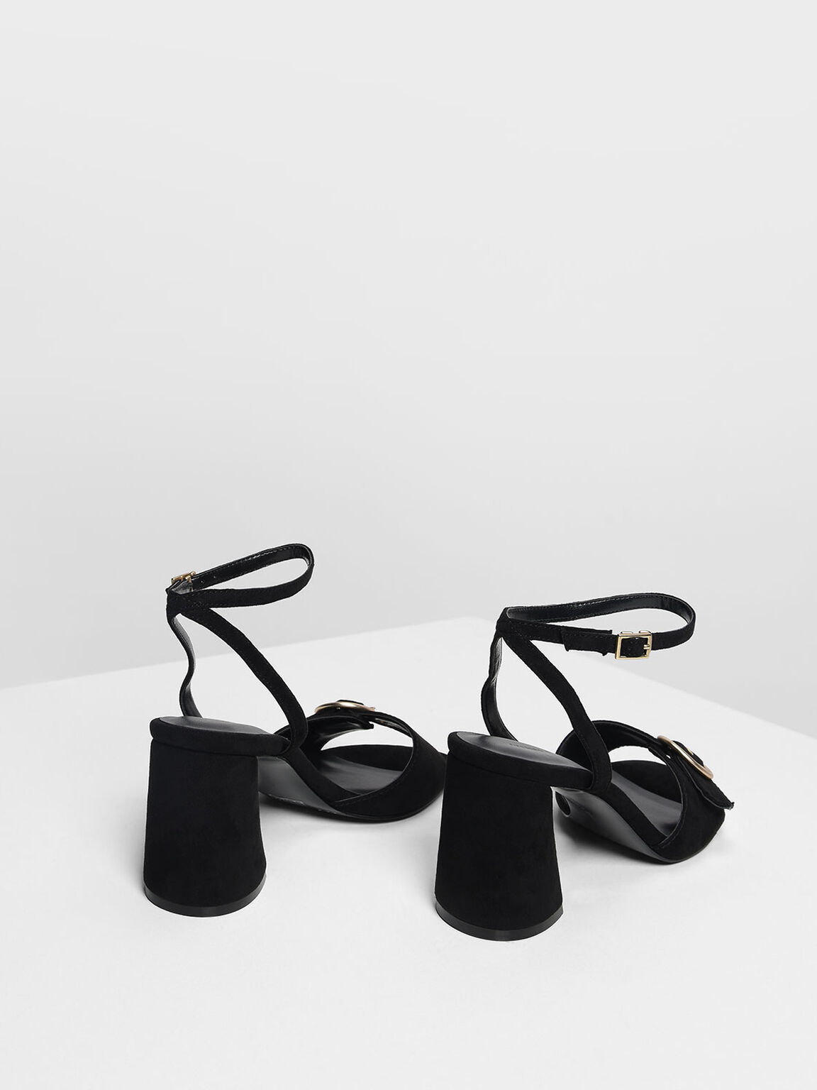 Gold Buckle Detail Heeled Sandals, Black, hi-res