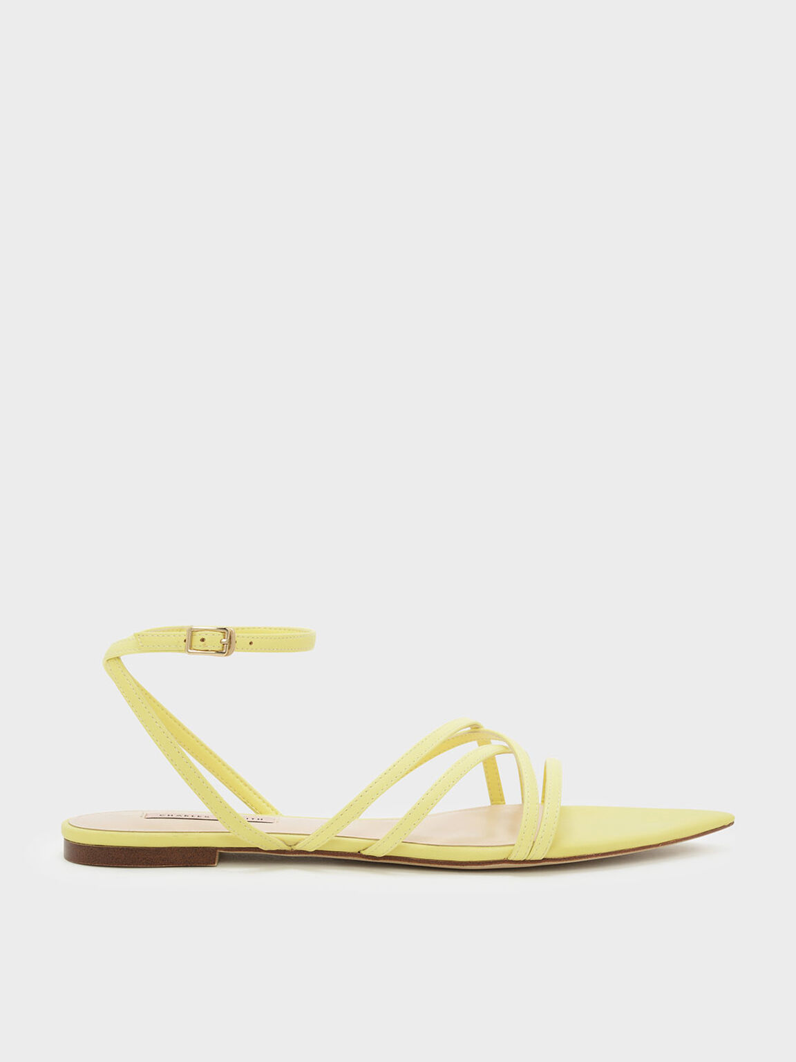 Strappy Pointed Sandals, Yellow, hi-res
