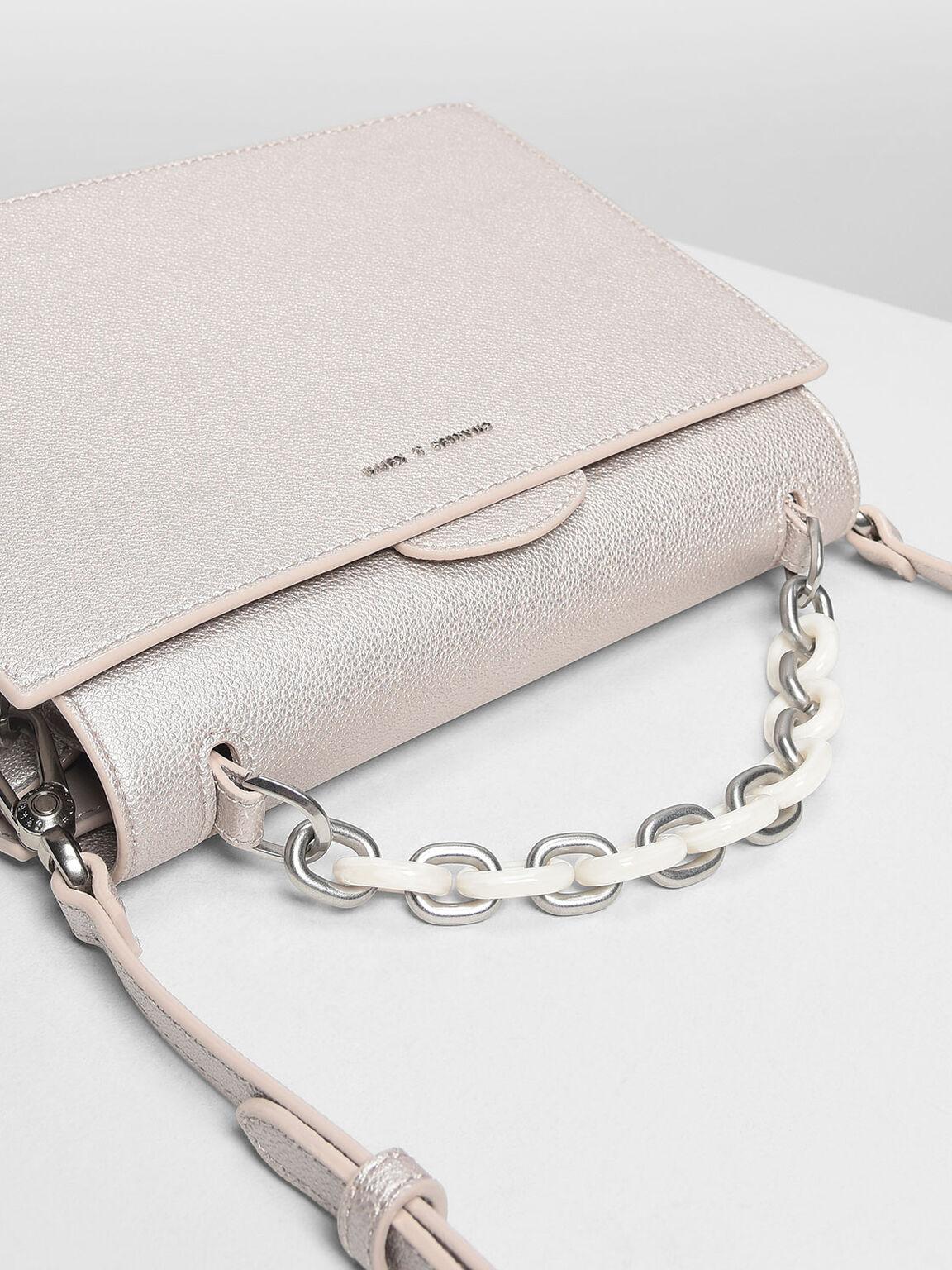 Chain Handle Handbag, Pearl, hi-res