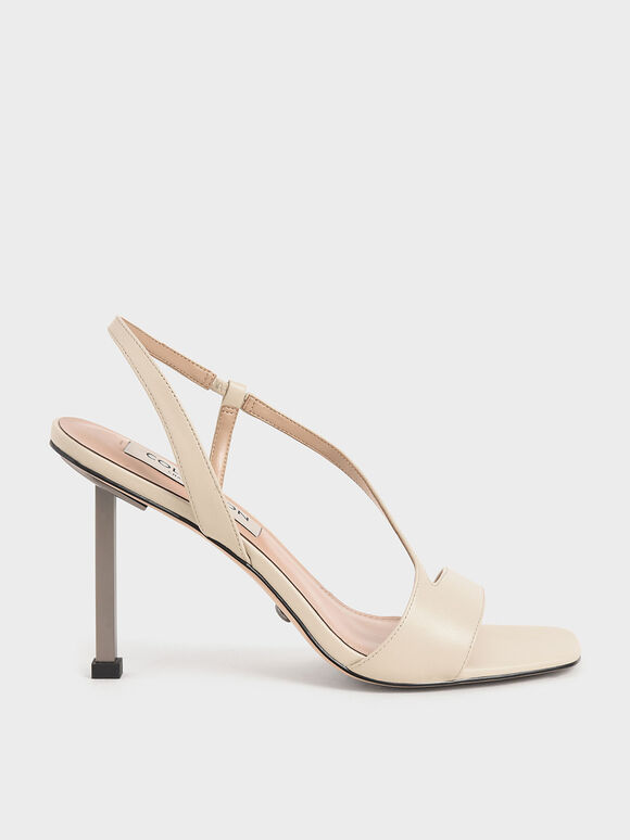 Leather Asymmetric Strap Slingback Sandals, Chalk, hi-res