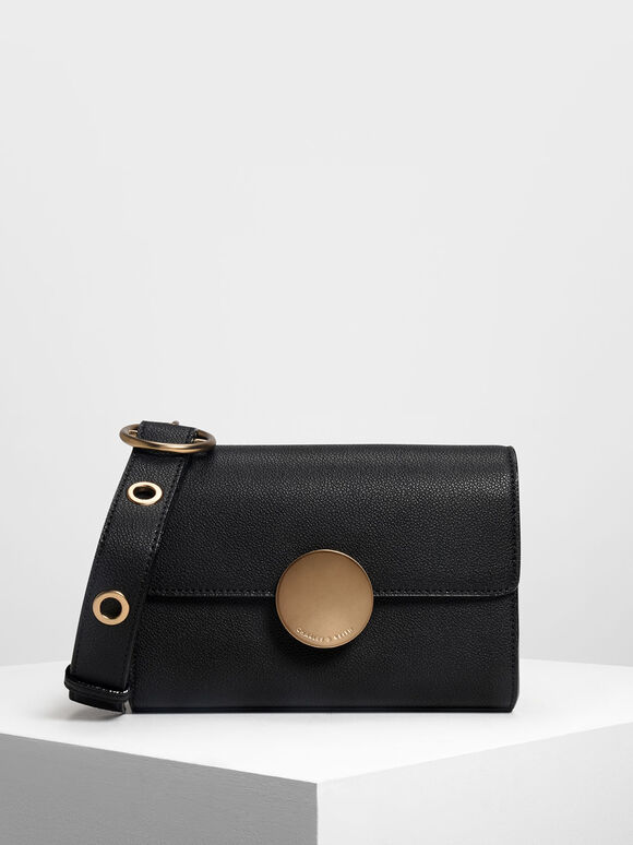 Circular Push Lock Crossbody Bag, Black, hi-res