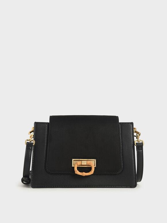 Textured Crossbody Bag, Black, hi-res