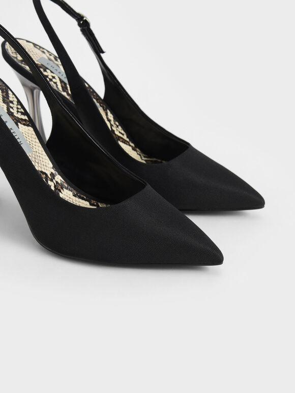 Clear Sculptural Heel Slingback Pumps, Black, hi-res
