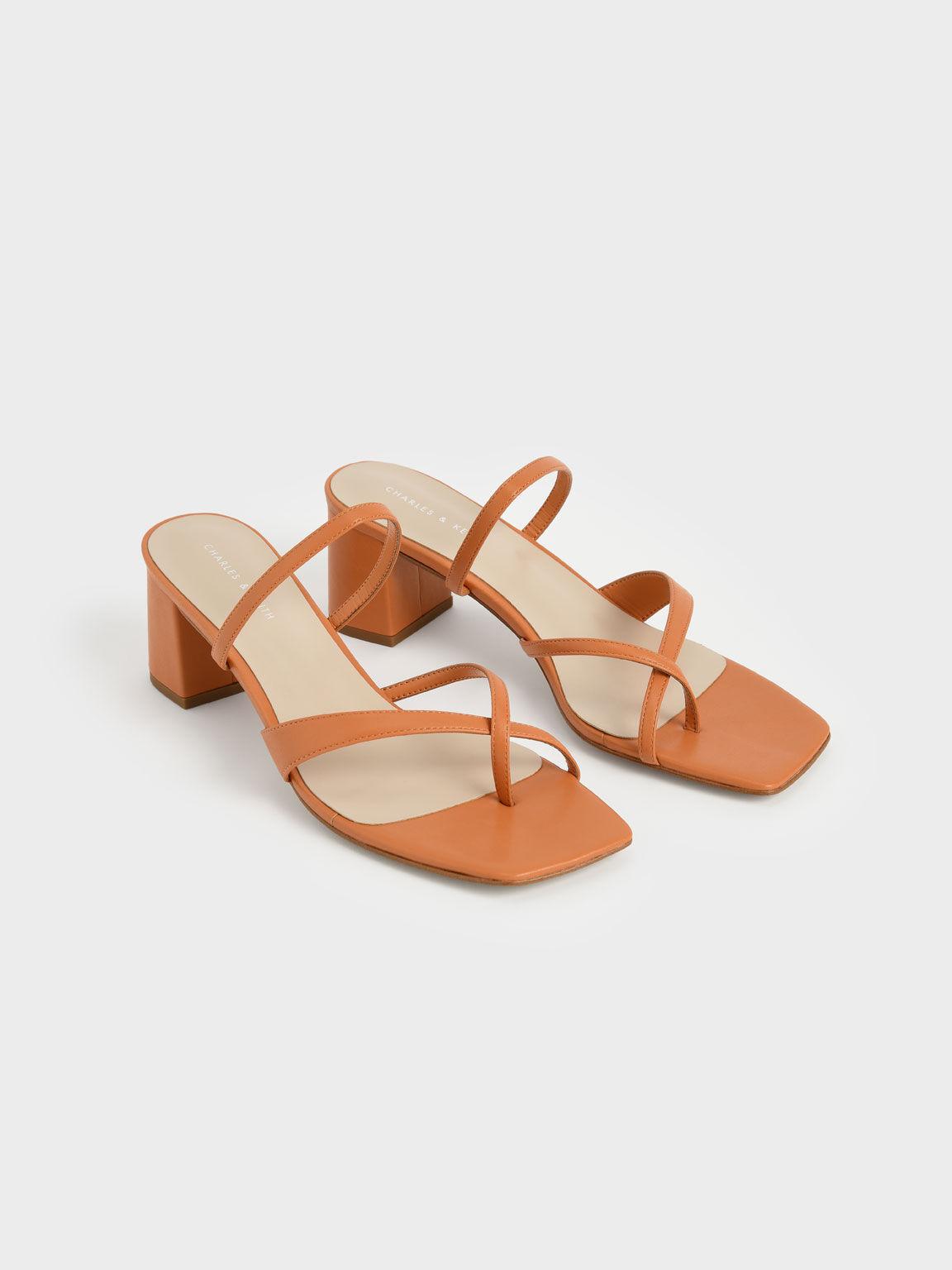 Block Heel Toe Loop Sandals, Orange, hi-res