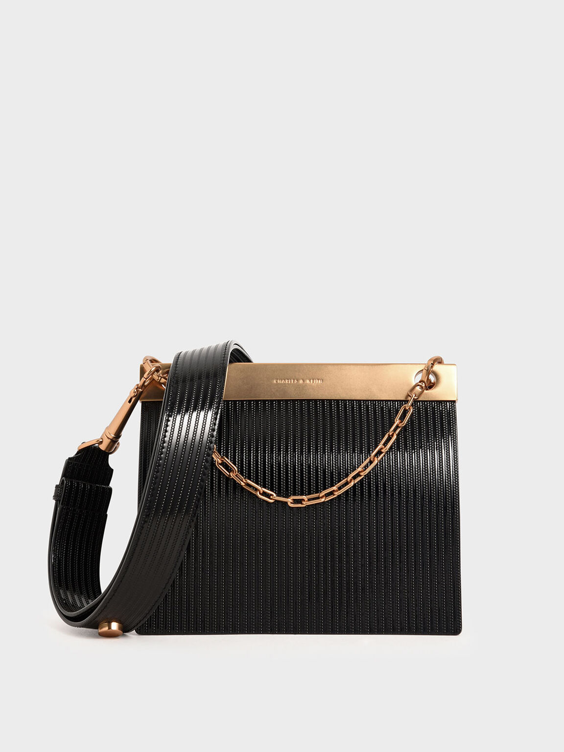 Patent Striped Chain Handle Bag, Black, hi-res