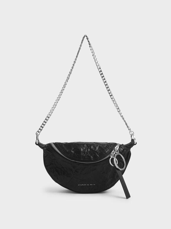 Wrinkled Effect Ring Zip Tassel Crossbody Bag, Black, hi-res