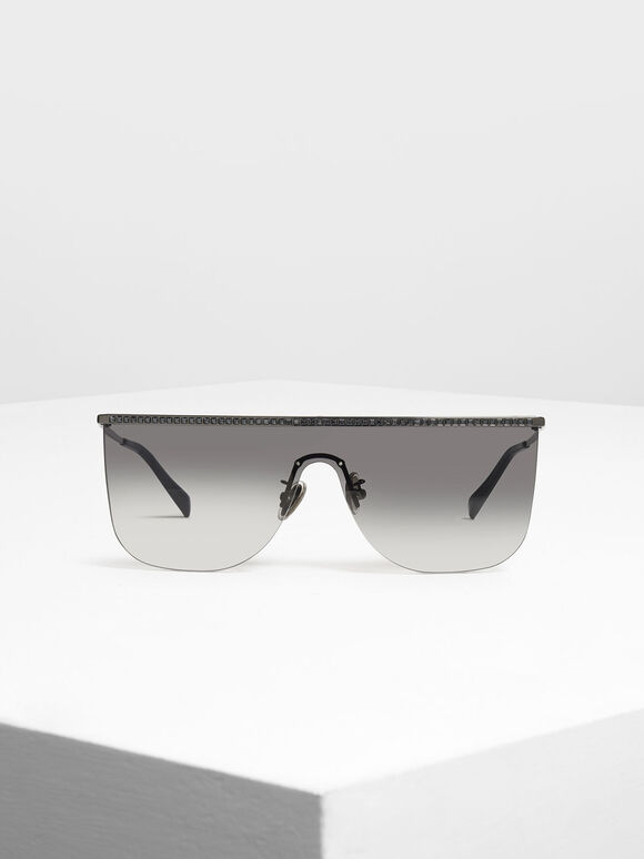 Crystal Embellished Sunglasses, Black, hi-res