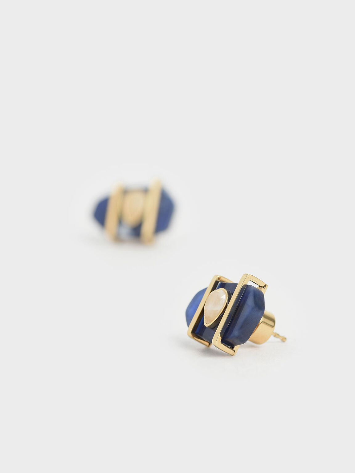 Sodalite & Moonstone Teardrop Stud Earrings, Dark Blue, hi-res