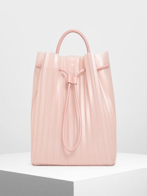 Translucent Drawstring Backpack, Pink, hi-res