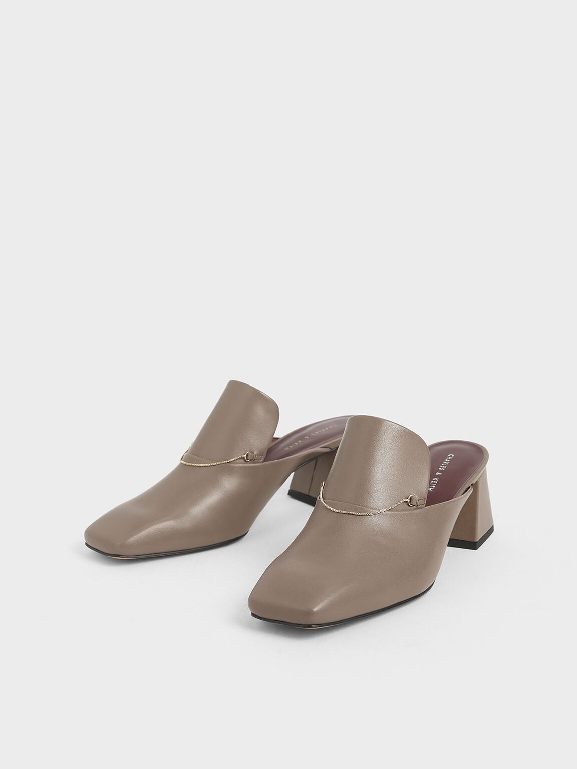 Chain Link Loafer Mules, Taupe, hi-res
