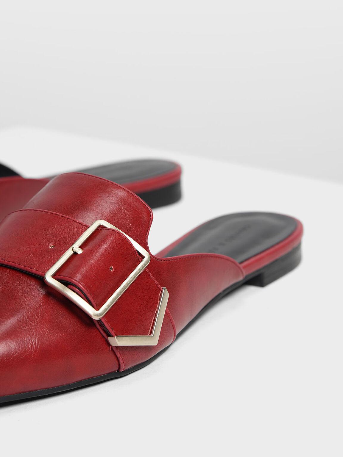 Metallic Detail Pointed Mules, Red, hi-res