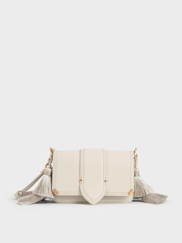 Molly Chiang Collection: Tassel Shoulder Bag, Cream, hi-res